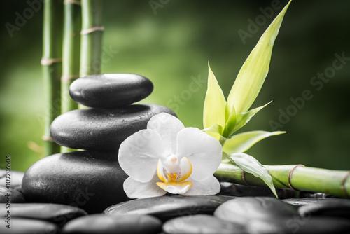 Fototapeta na wymiar zen basalt stones ,orchid and bamboo