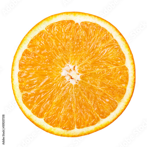 Foto op Aluminium Vruchten cut fresh orange isolated on white background