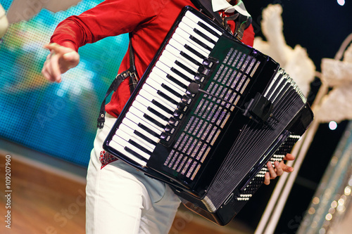 Fotografia, Obraz  The musician playing the accordion
