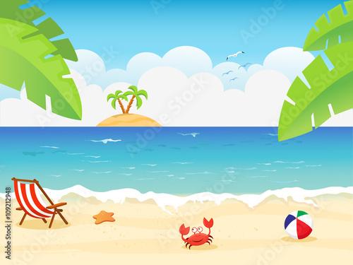 Stampa su Tela  Summer Background Illustration