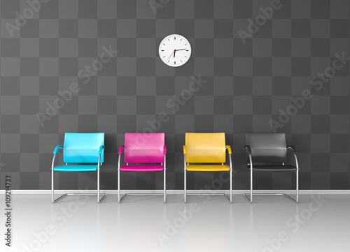 Fotomural CMYK colored chairs in the print shop waiting room