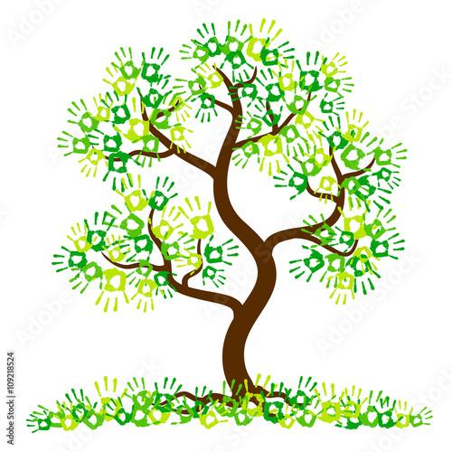 Fotografia, Obraz  Hand print tree