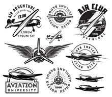 Retro Pattern Set Of Planes, B...