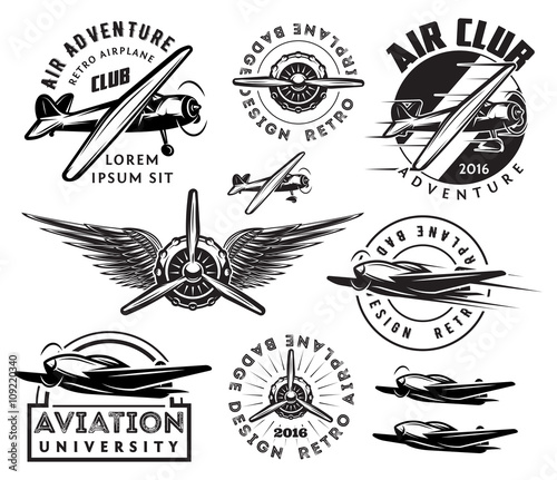 retro pattern set of planes, badges, design elements Wallpaper Mural
