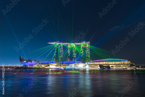 Singapore city skyline with laser show at Marina Bay Wallpaper Mural