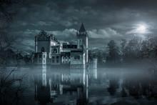 Mystic Water Castle In Moonlight