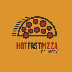 Obraz na Szkle Do pizzerii Pizza delivery vector logo