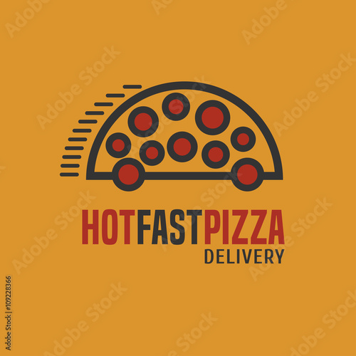 Pizza delivery vector logo - 109228366