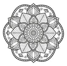 Black And White Mandala Vector For Coloring,mandala In Bianco E Nero Vettoriale Da Colorare