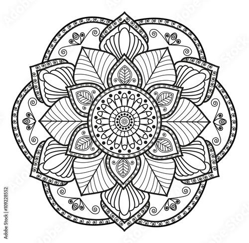Black and white mandala vector for coloring,mandala in bianco e nero vettoriale da colorare - Buy this stock vector and explore