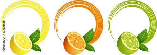 Citrus fruit round frame Tapéta, Fotótapéta