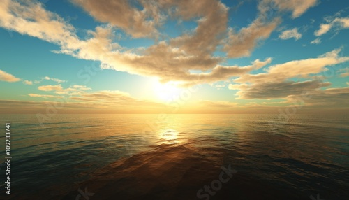 Poster Mer / Ocean Clouds over the sea, seascape, sunset over the ocean