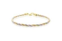 Beautiful Tri-Tone Bracelet In 14 Karat White, Yellow & Rose Gold