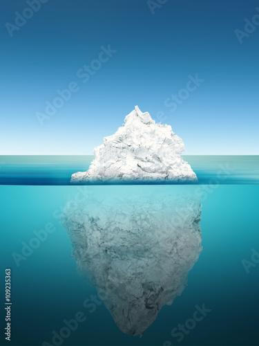 Poster Glaciers iceberg model on blue ocean