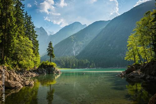 alpine lake Di Laghi Fusine . Dolomites . Italy Fototapete