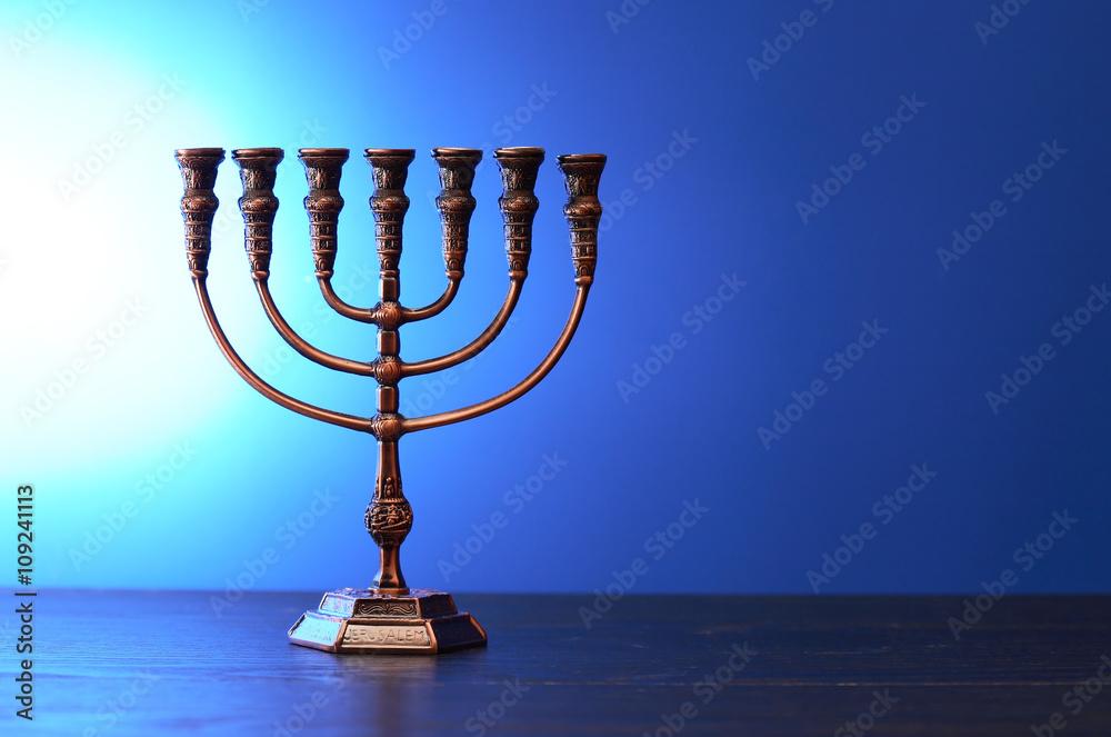 Photo  Traditional Jewish Menorah