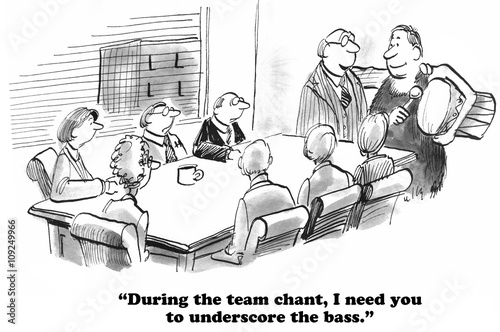 Fotografia, Obraz  Business cartoon about singing a chant during a team meeting.