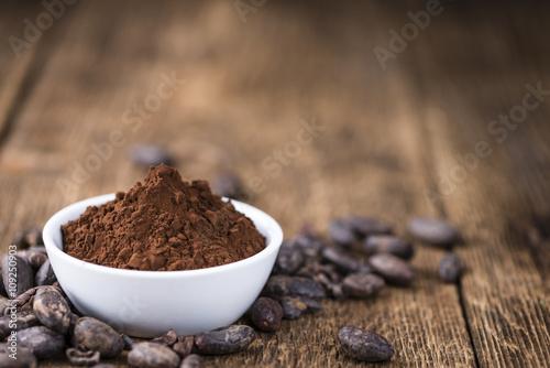 Fotografía  El polvo de cacao natural