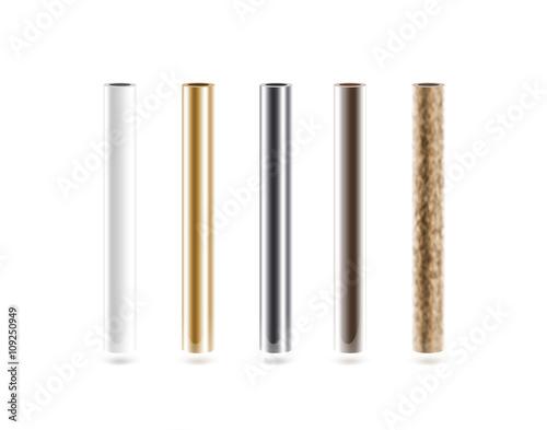 Fotografia  Metal pipes set isoalted on white