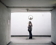 Young Woman In Tunnel