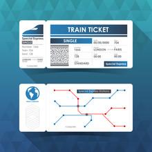 Train Ticket Card, Element Design With Blue Color. Vector Illust