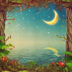 Panel Szklany Niebo Beautiful woodland scene with trees ,sky and moon over the sea ,illustration art