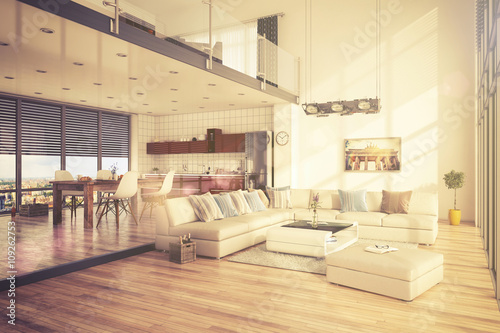 Minimalistisch Modern Eingerichtetes Loft Mit Wohnzimmer Kuche