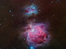 Real Nebulae In The Constellation Orion Called Orion Nebula And Running Man Nebula Taken With CCD Camera And Wide Field Telescope