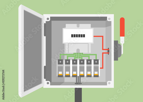 breakers switch vector flat, fuse vector, electric box, circuit breakers, electrical  panel