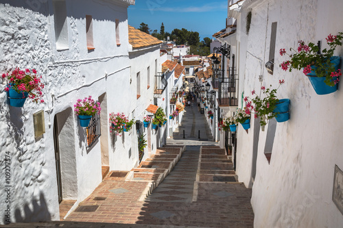 Canvas Print Street with flowers in the Mijas town, Spain