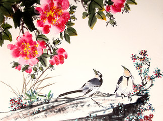 Fototapeta Orientalny chinese ink painting bird and tree