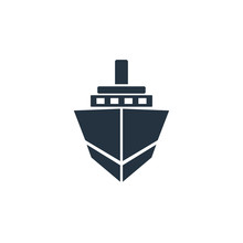 Ship, Boat Front Icon On White...