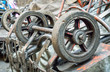 Selective focus of old wheel carts, Close up with place for your text