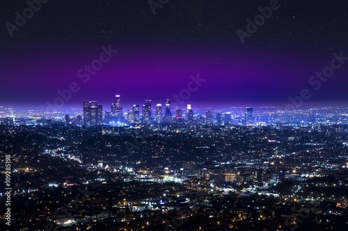 Los Angeles downtown city skyline at night Canvas Print