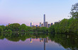 Manhattan mirrored from water in Central Park