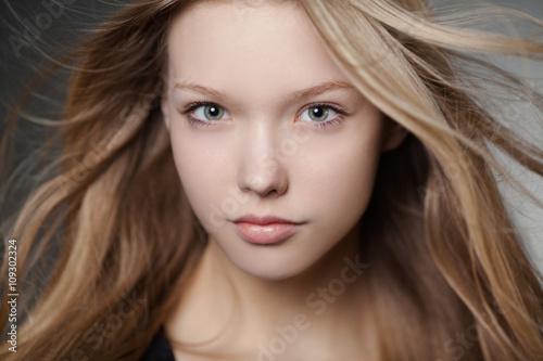 Fototapety, obrazy: beautiful girl portrait with windy hair