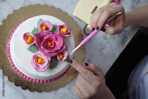 Fotografía  cake designer decora una torta