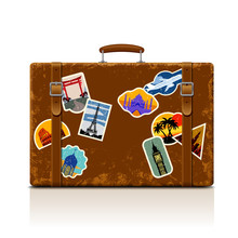 Vintage Brown Threadbare Suitcase With Retro Stickers