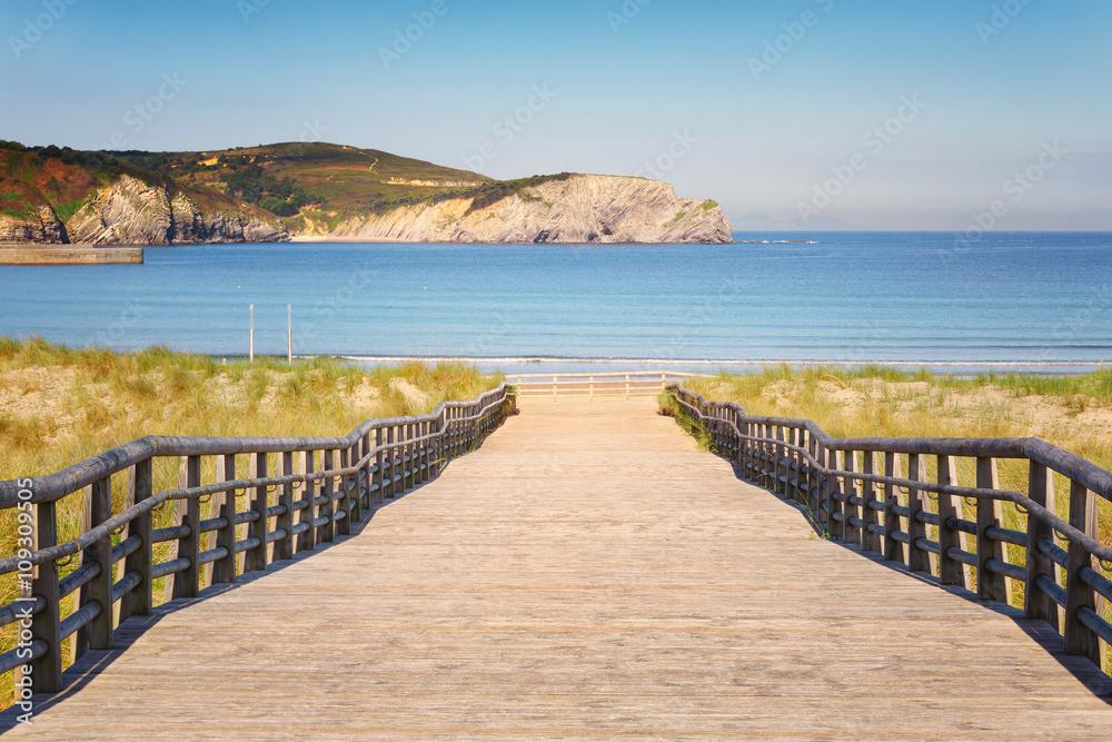 Fototapety, obrazy: Gorliz boardwalk to the beach