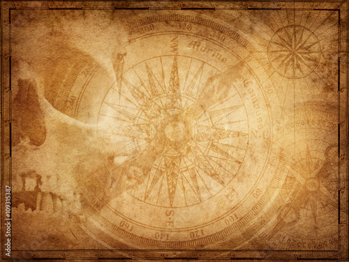 In de dag Schip Pirate and nautical theme grunge background