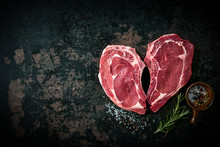 Heart Shape Raw Fresh Veal Mea...