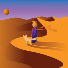 Little Prince With A Fox In The Desert