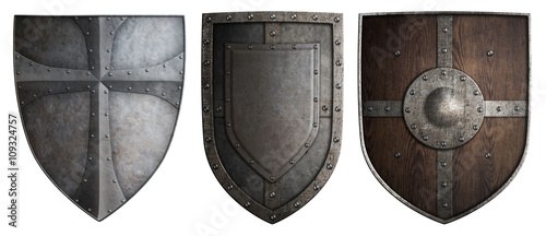 Obraz na plátně various crusaders knights shields set isolated 3d illustration