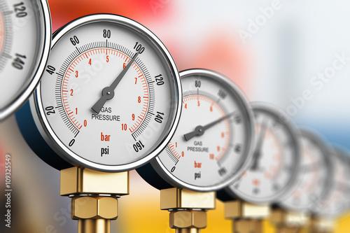 Fotografie, Obraz  Row of industrial high pressure gas gauge meters