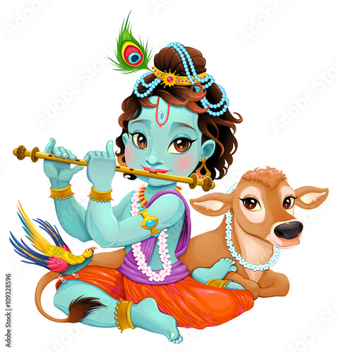 Door stickers kids room Baby Krishna with sacred cow
