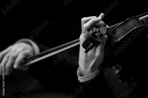 Fotografie, Obraz  Hands musician playing the violin closeup in black and white