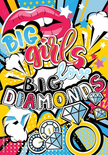 pop-art-duza-dziewczyna-uwielbia-cytat-z-duzymi-diamentami