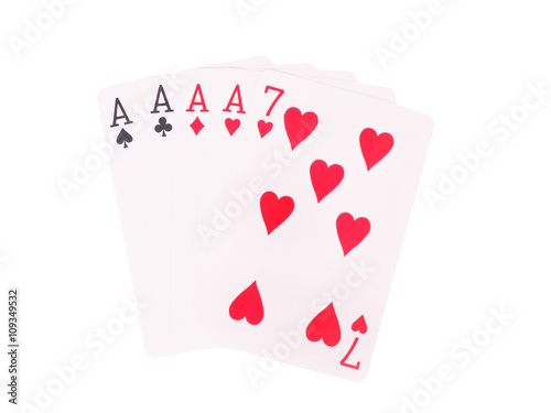 Платно  Four of a Kind playing cards isolated on white background.