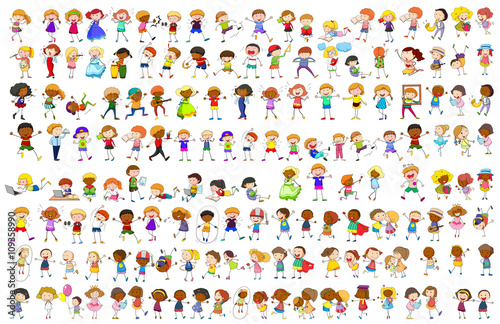 Canvas Prints Kids Simple characters in different actions