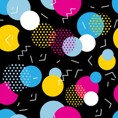 Seamless geometric pattern in retro 80s style. Pop art circles, lines, zigzag pattern on black background.